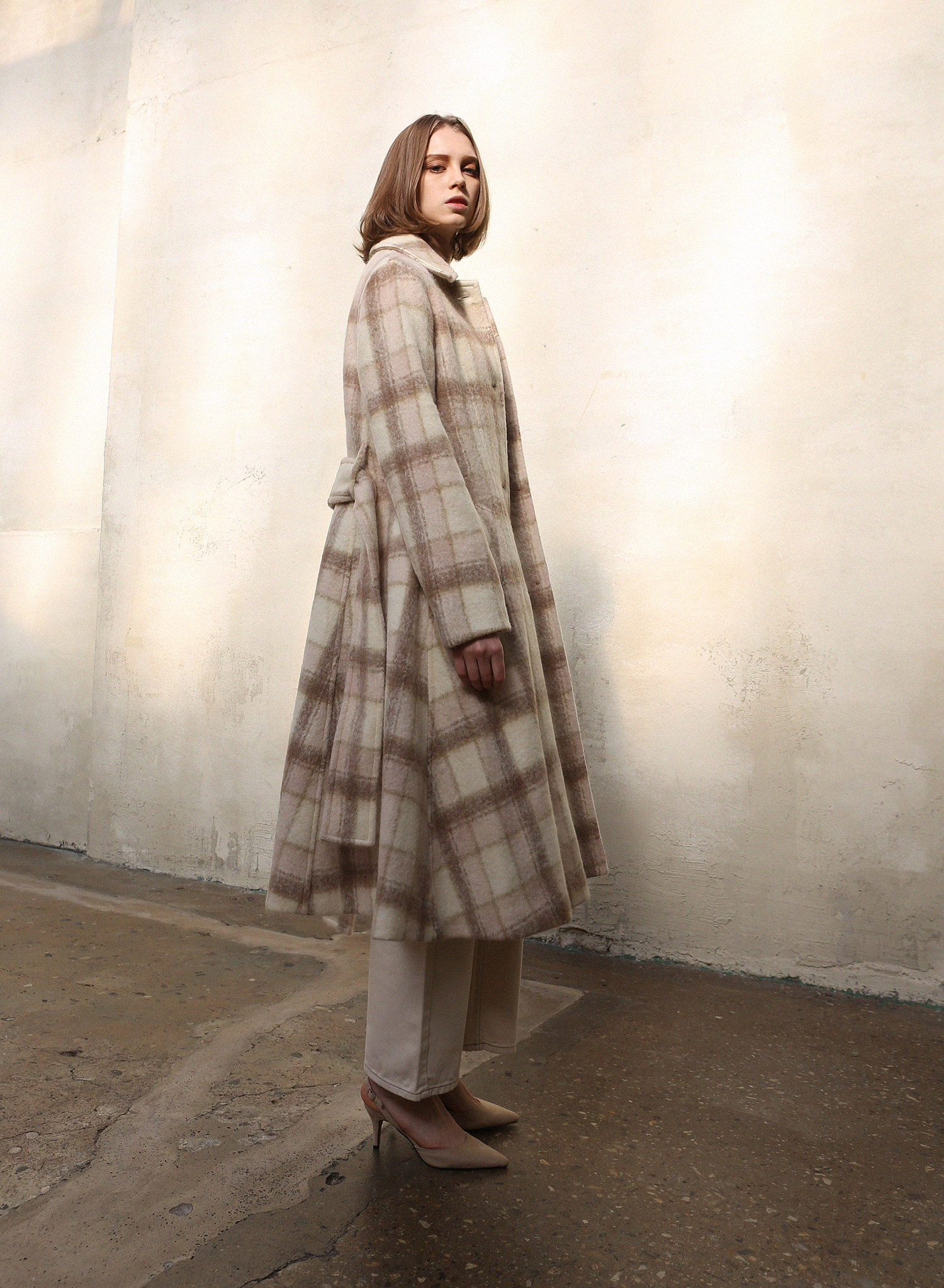MOHAIR ALPACA CHECK COAT