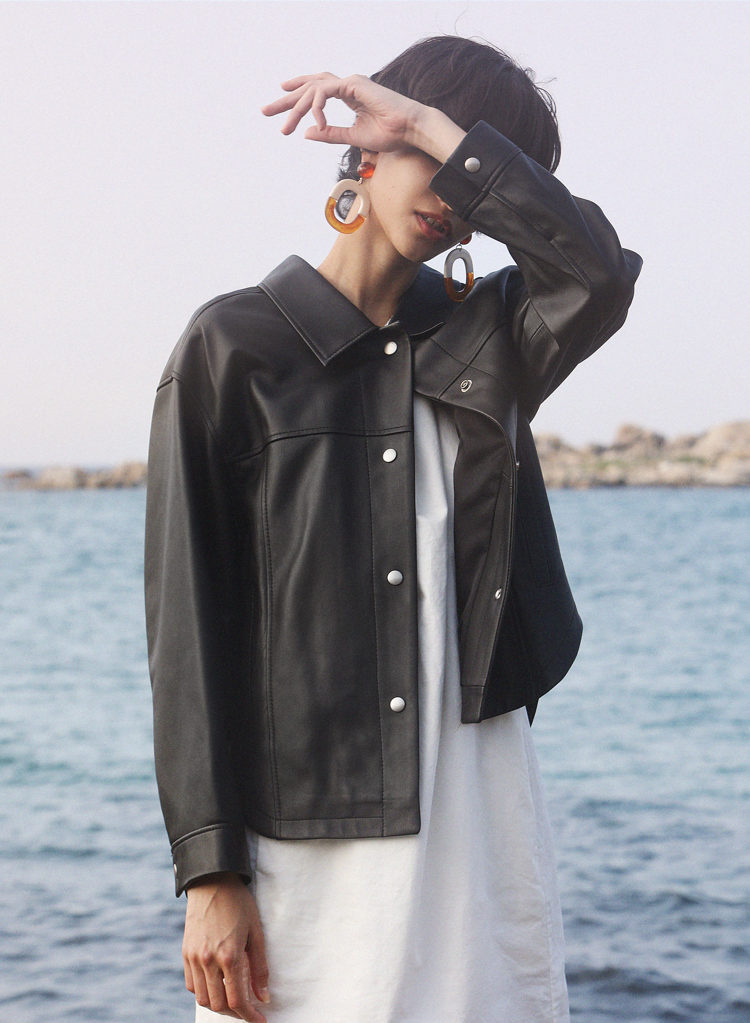 [SEASON OFF Event 20%↓] BASIC COLLAR LEATHER JACKET