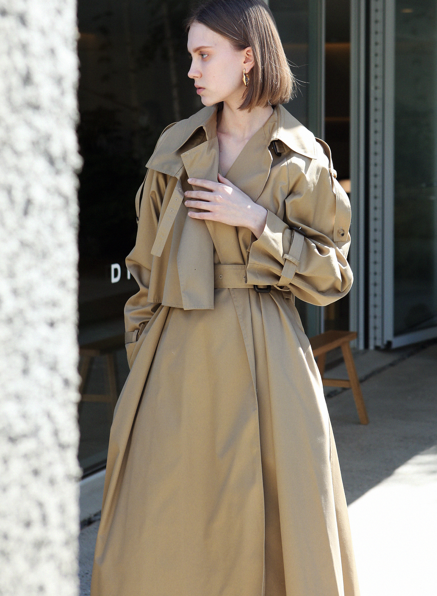 BRUSHED TRENCH COAT / B