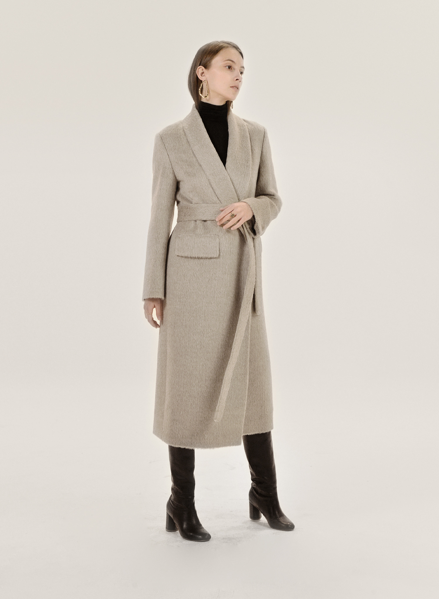 SHAWL COLLAR SURI ALPACA COAT / OATMEAL