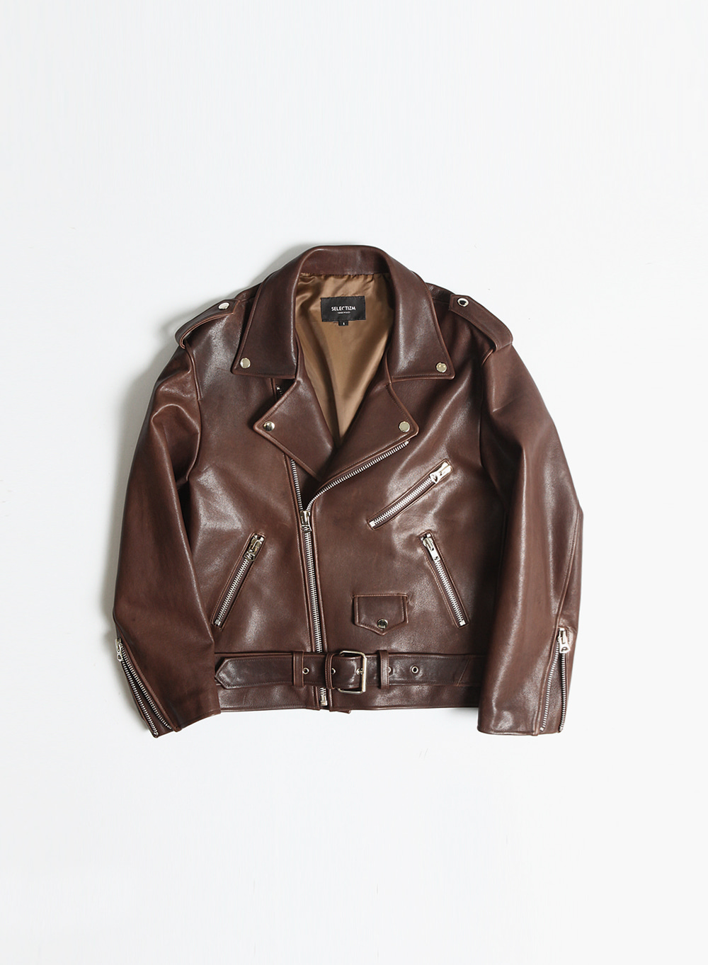 [SEASON OFF Event 15%↓] FONTE LOOSE LEATHER JACKET / BROWN