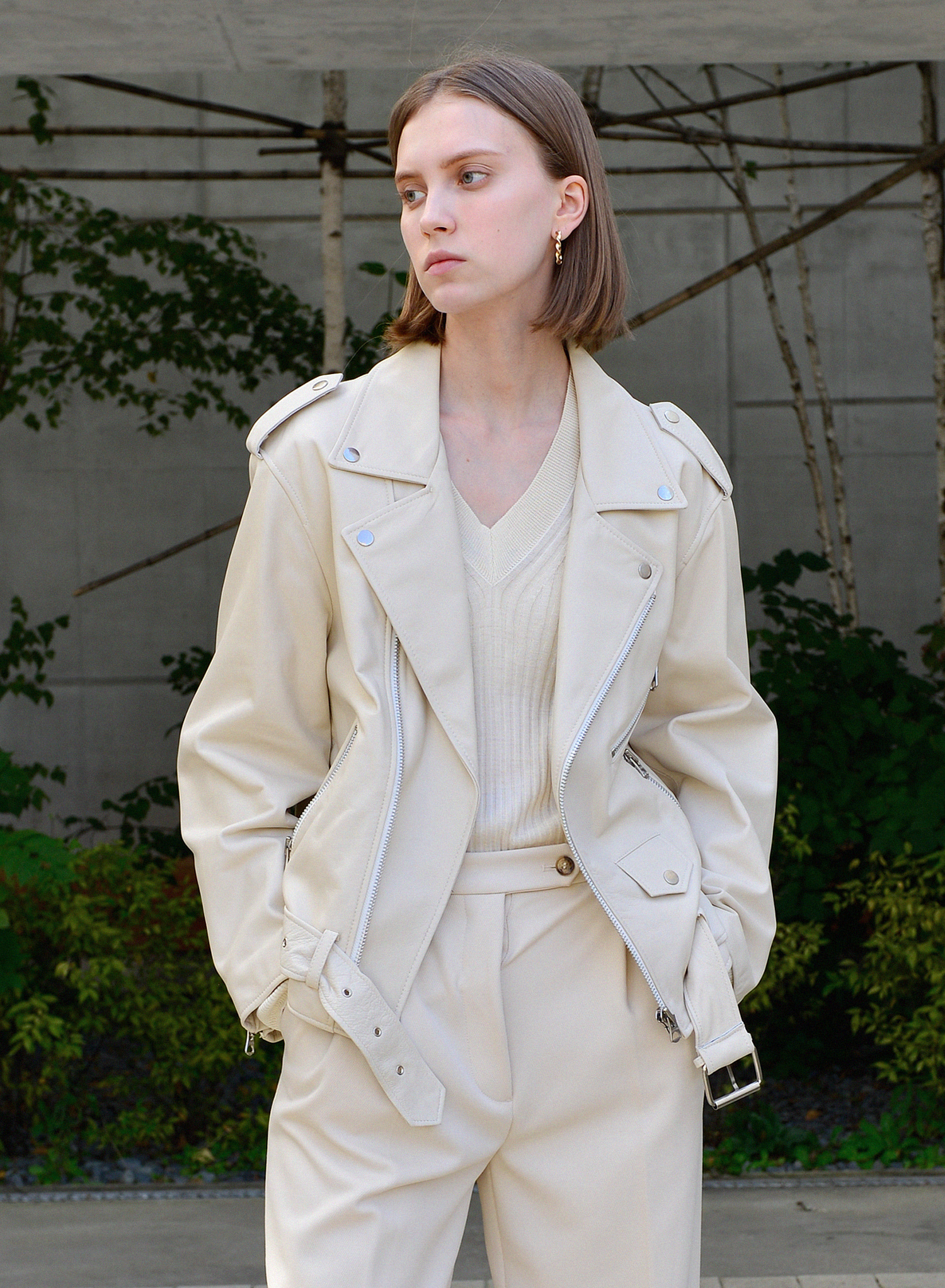 FONTE LOOSE LEATHER JACKET / IVORY