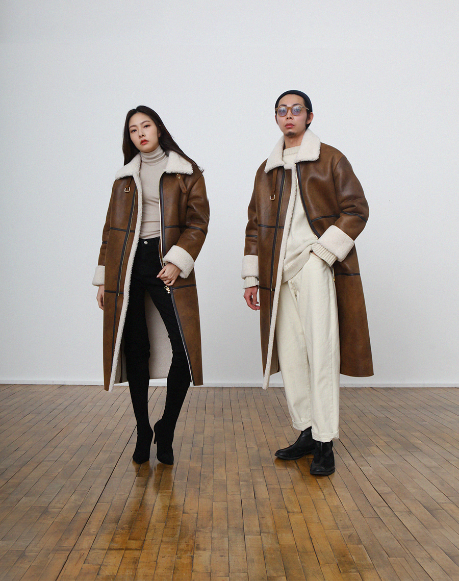SLCZ LONG MOUTON COAT / BROWN&CREAM