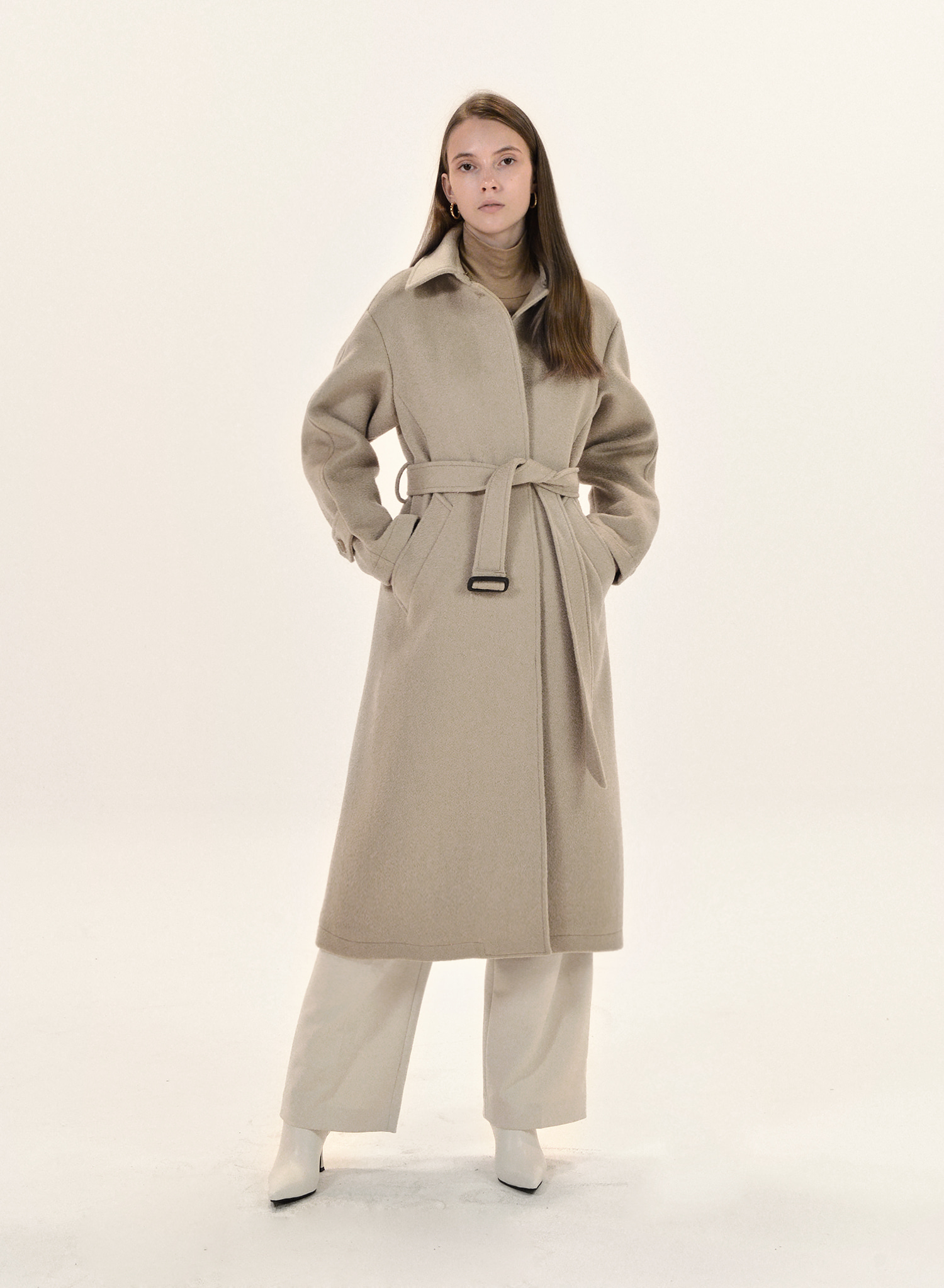 CLASSIC CASHMERE SINGLE COAT / SAND BEIGE