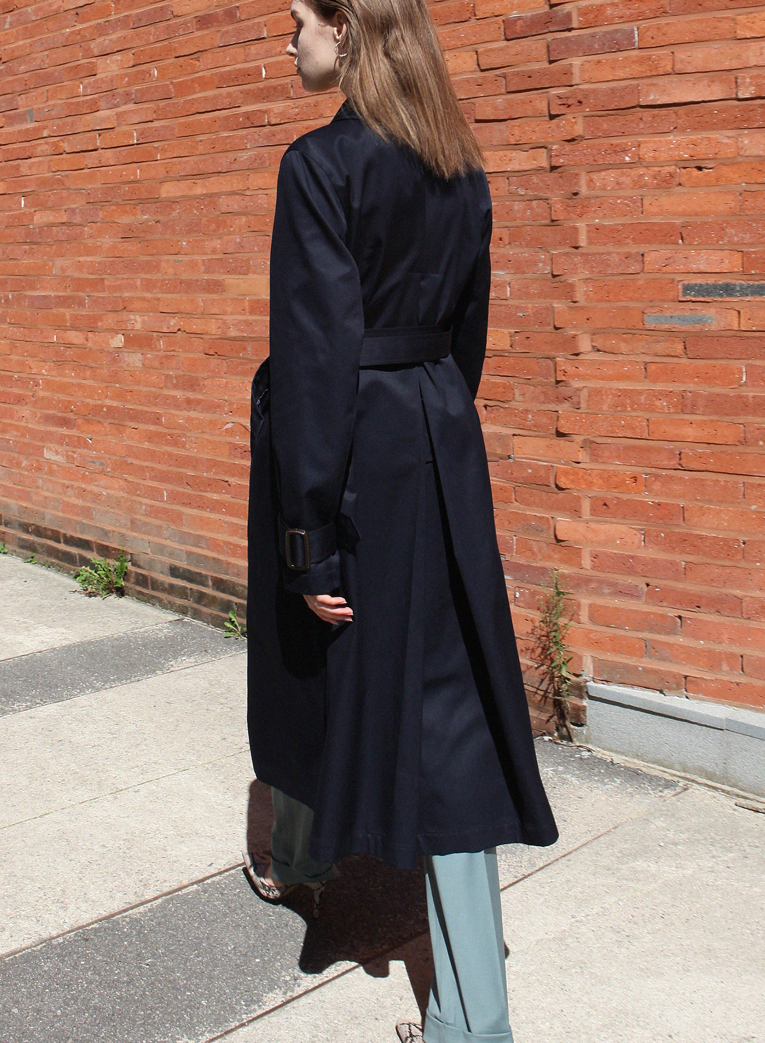 SINGLE SLIT TRENCH COAT / NAVY
